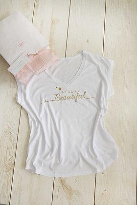 Hello Beautiful - חולצה לבנה
