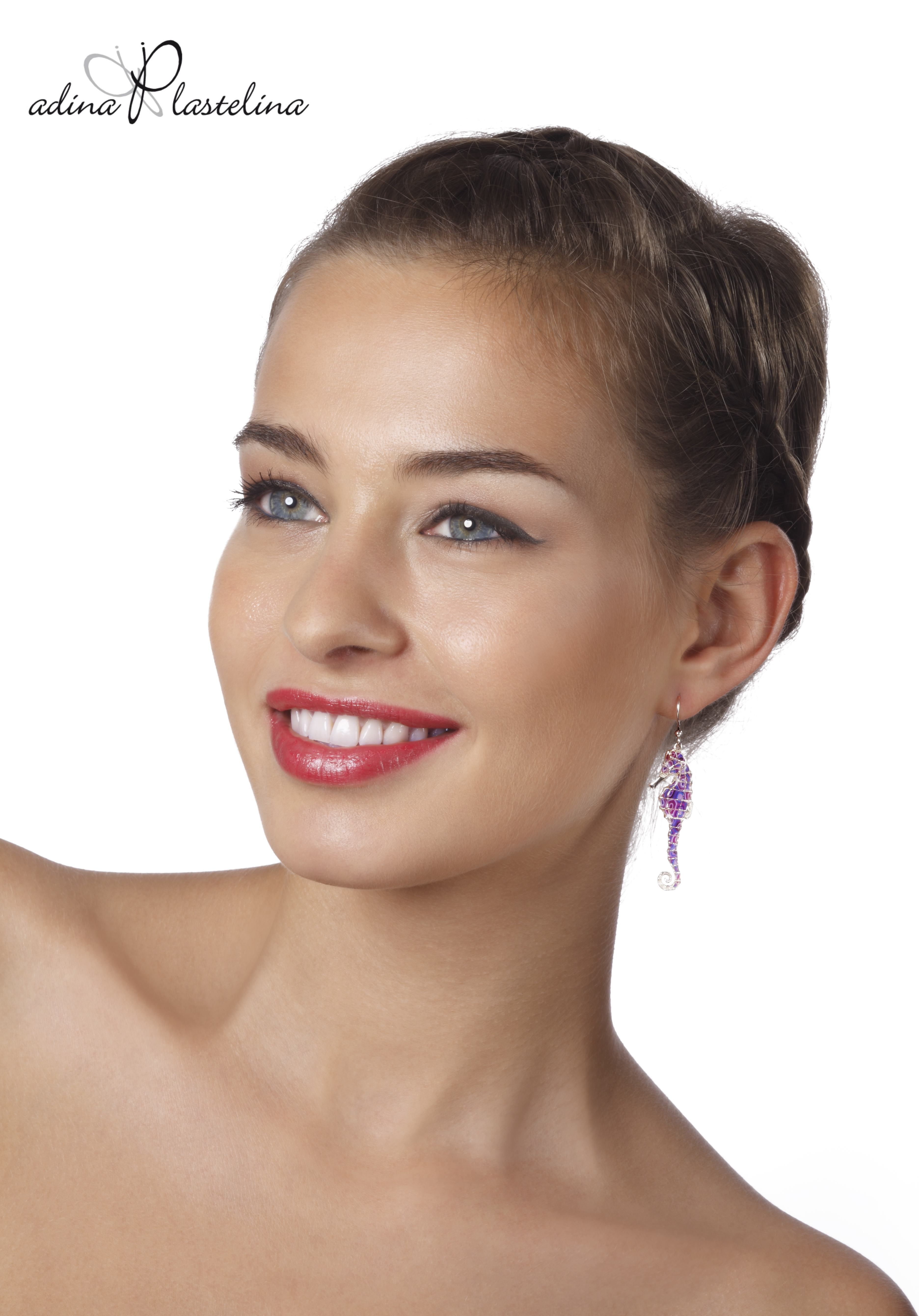 Purple seahorse earrings