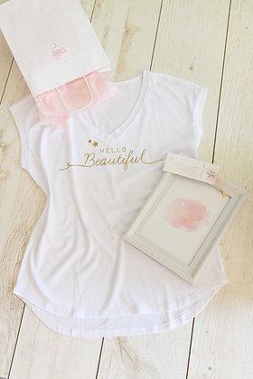 Hello Beautiful - חולצה לבנה ומסגרת - ורוד