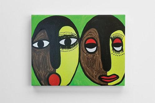 Orisa Ibeji (Sacred Twins) Canvas Print - 16 x 12 inches