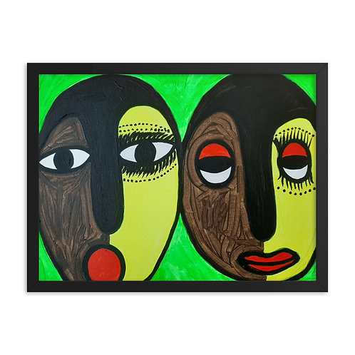 Òrìsà Ìbejì (Sacred Twins) Framed Poster