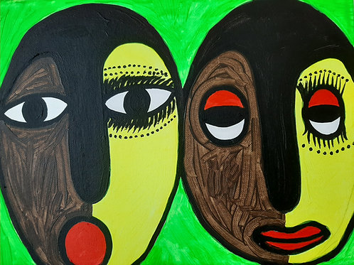Òrìsà Ìbejì (Sacred Twins), Acrylic on canvas, 9x12 inches.