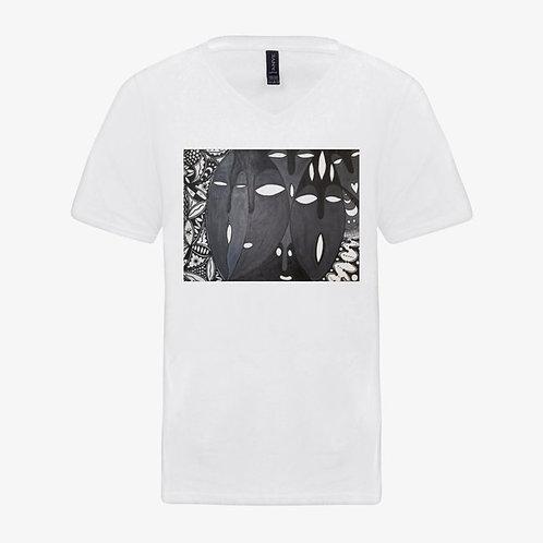 Iboju (Mask) Men's T-shirts: V-Neck, Full Color, White