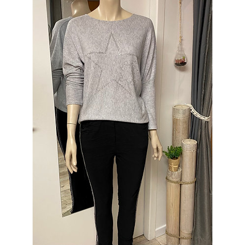 Pull Mickey star gris