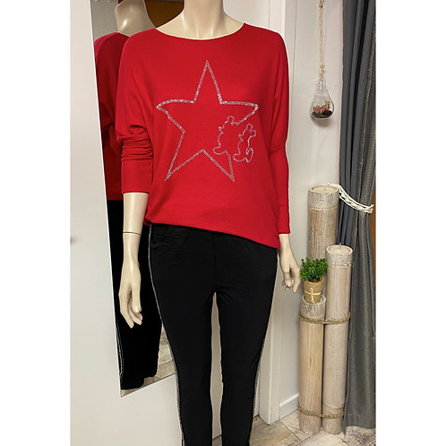 Pull Mickey star rouge