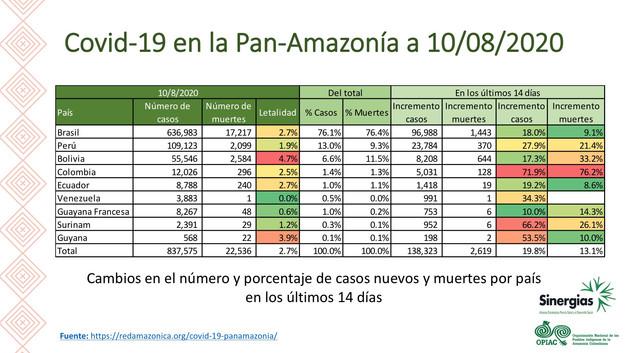 COVID-19 en la Panamazonía a 10/08/2020