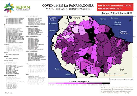 Mapa de casos confirmados en la panamazonía - 12/10/20