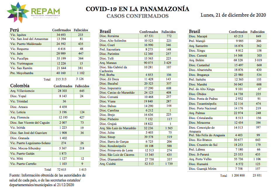 Casos confirmados en la panamazonía - 21/12/20