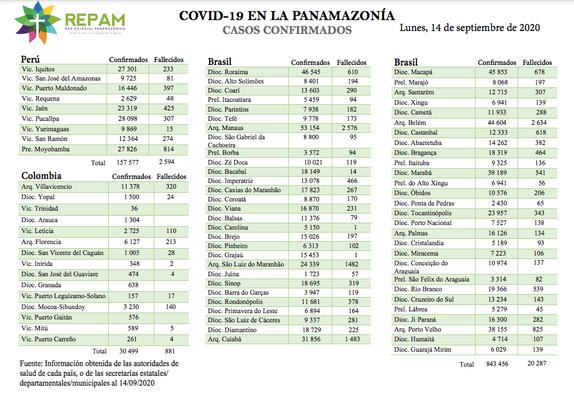 Casos confirmados en la panamazonía - 14/09/20