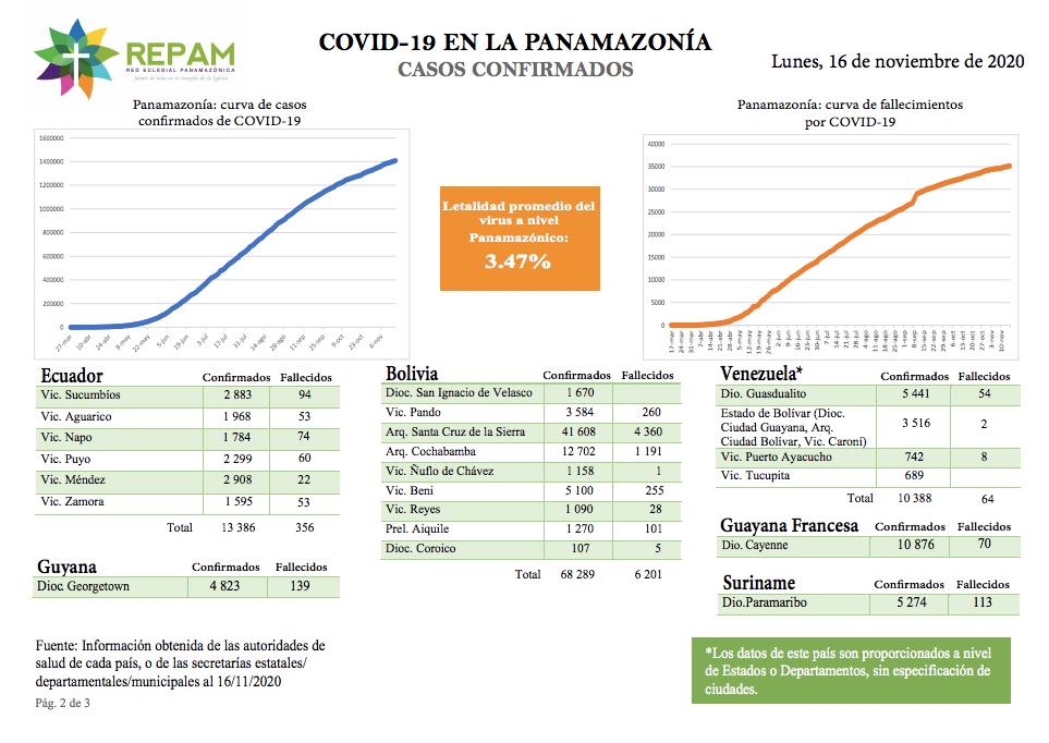 Casos confirmados en la panamazonía - 16/11/20