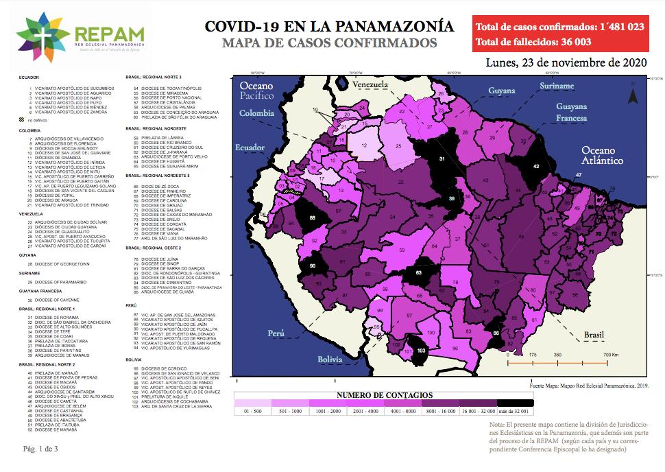 Mapa de casos confirmados en la panamazonía - 23/11/20
