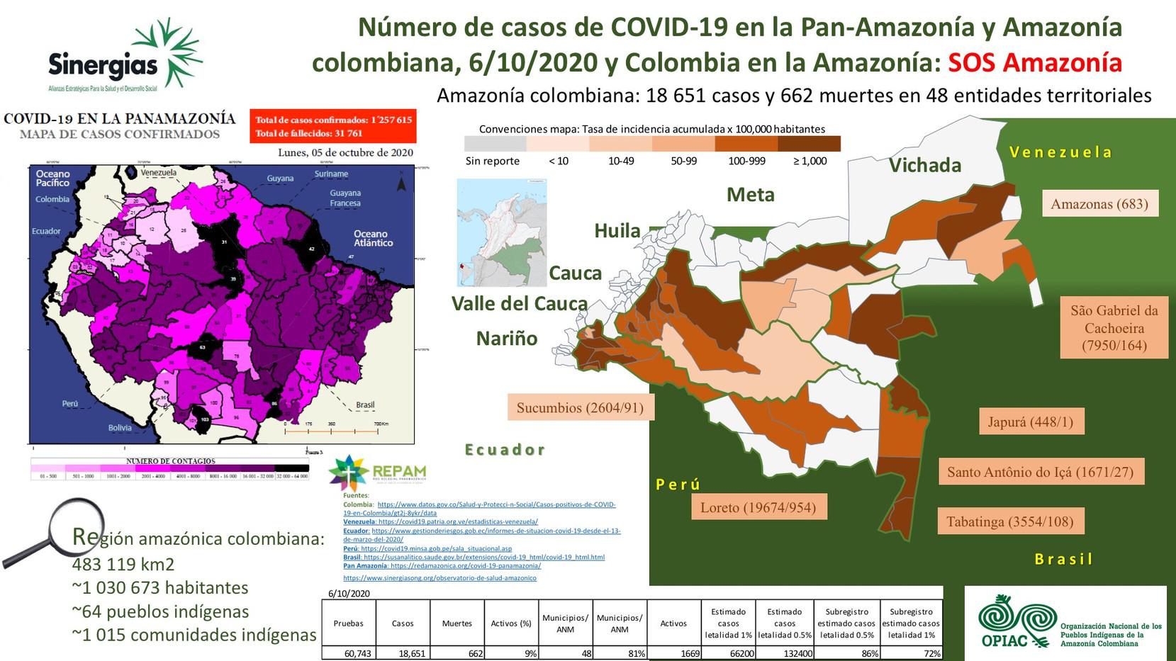 Número de casos de COVID-19 en la Pan-Amazonía y Amazonía colombiana a 6/10/2020
