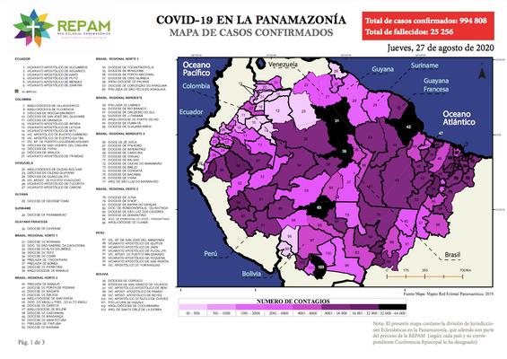 Mapa de casos confirmados en la panamazonía - 27/08/20