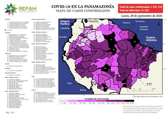 Mapa de casos confirmados en la panamazonía - 28/09/20