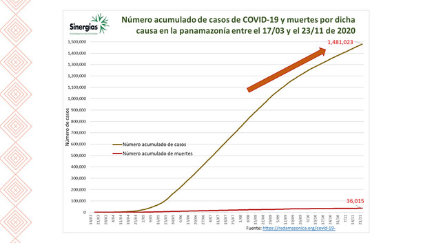 Número acumulado de casos de COVID-19 y muertes entre el 17/03 y el 23/11 de 2020