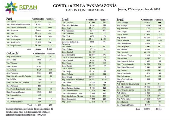 Casos confirmados en la panamazonía - 17/09/20