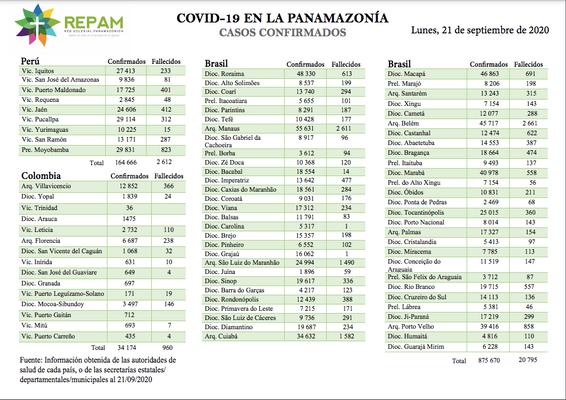 Casos confirmados en la panamazonía - 21/09/20