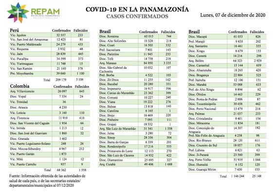 Casos confirmados en la panamazonía - 07/12/20