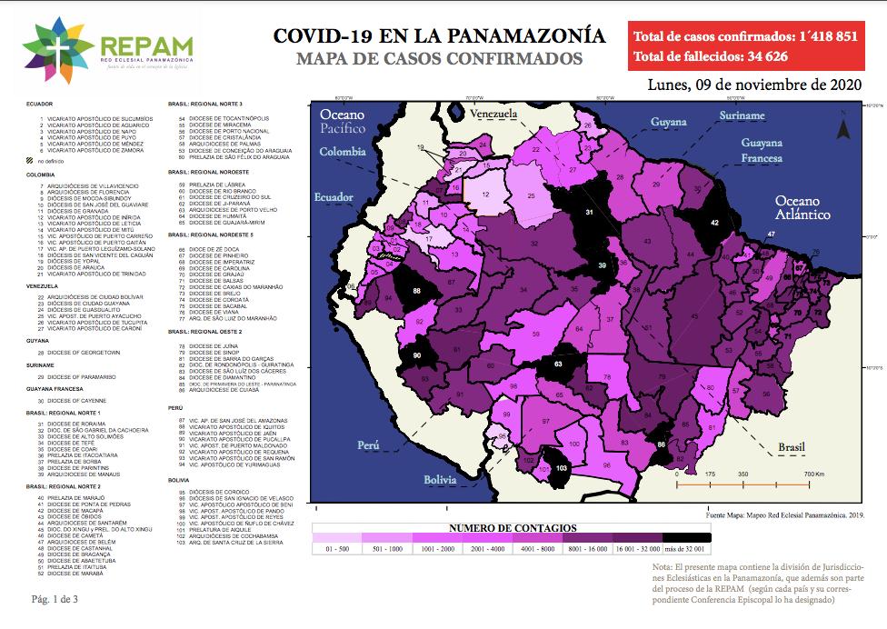 Mapa de casos confirmados en la panamazonía - 09/11/20