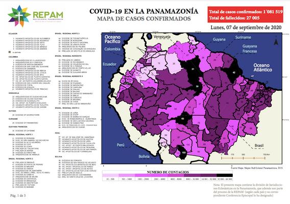 Mapa de casos confirmados en la panamazonía - 07/09/20