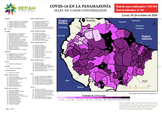 Mapa de casos confirmados en la panamazonía - 05/10/20