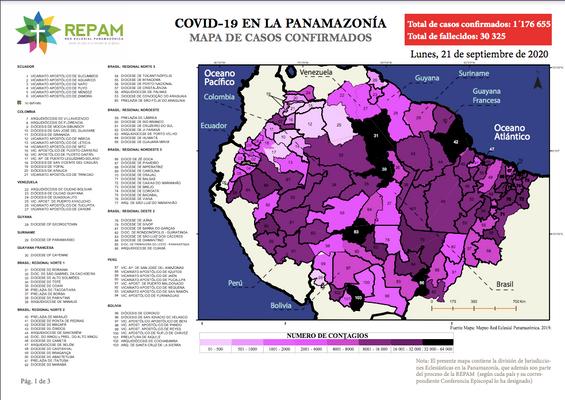 Mapa de casos confirmados en la panamazonía - 21/09/20