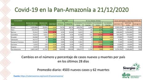 Tabla de la situación del COVID19 en la pan-Amazonía por países