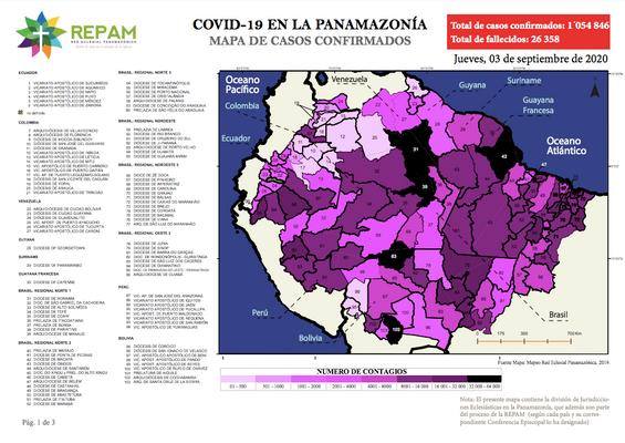 Mapa de casos confirmados en la panamazonía - 03/09/20
