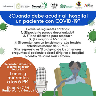 ¿Cuándo debe acudir al hospital un paciente con COVID-19?