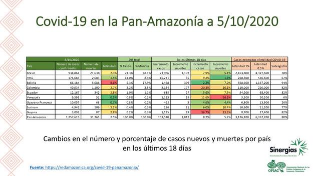 El COVID-19 en la Pan-Amazonía a 5/10/2020