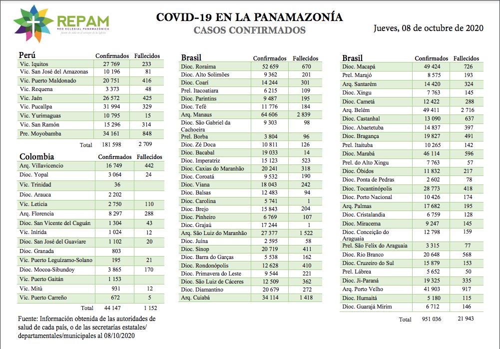 Casos confirmados en la panamazonía - 12/10/20