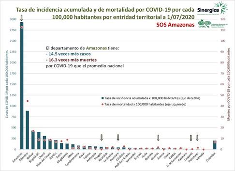 Tasa de incidencia acumulada y mortalidad por COVID-19 - 01/07/20