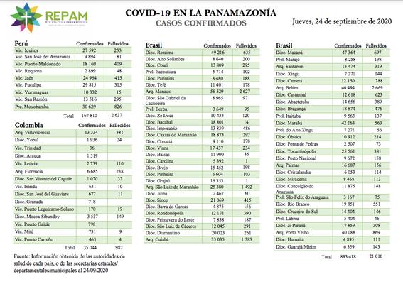 Casos confirmados en la panamazonía - 24/09/20