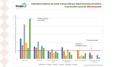Indicadores básicos de salud y desarrollo por departamento amazónico VS promedio nacional
