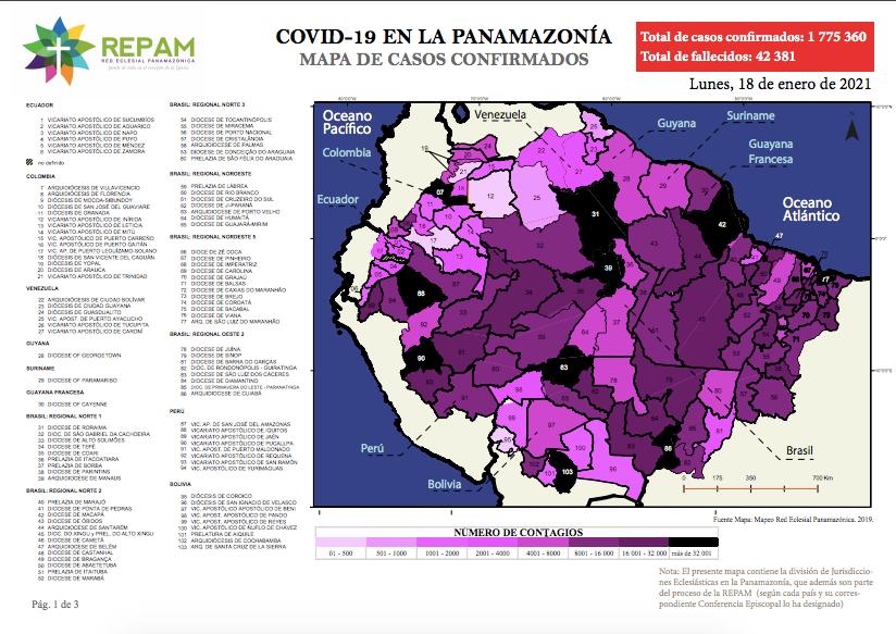 Mapa de casos confirmados en la panamazonía - 18/01/21