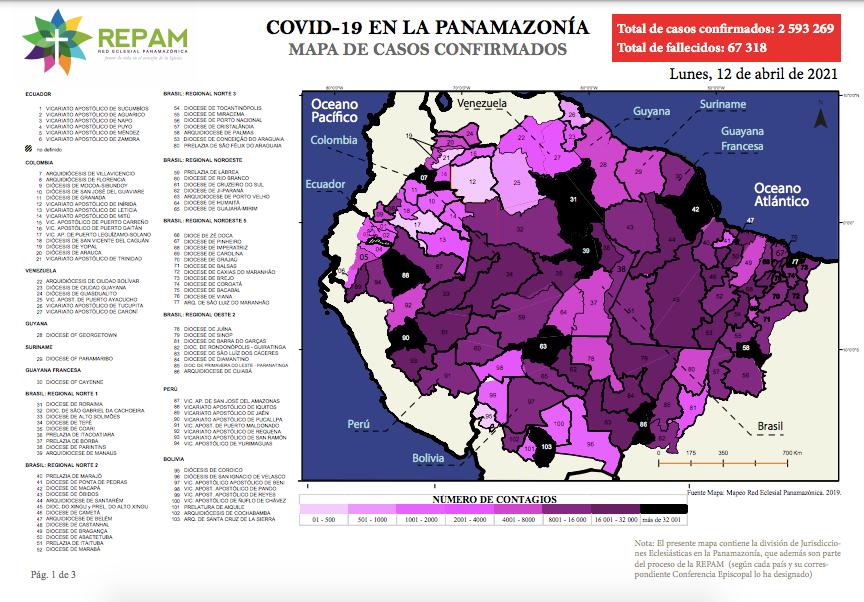 Mapa de casos confirmados en la panamazonía - 12/04/21
