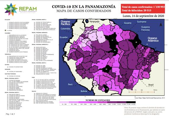 Mapa de casos confirmados en la panamazonía - 14/09/20
