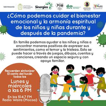 ¿Cómo podemos cuidarnos el bienestar emocional y la armonía espiritual de los niños y niñas durane y después de la pandemia?