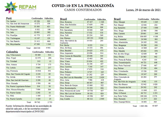 Casos confirmados en la panamazonía - 29/03/21