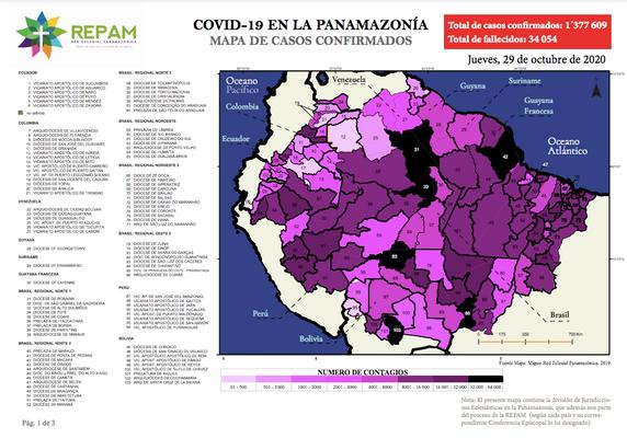 Mapa de casos confirmados en la panamazonía - 29/10/20