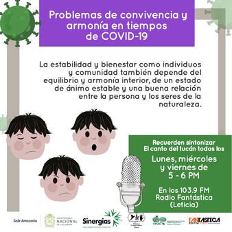 Problemas de convivencia y armonia en tiempos de COVID-19