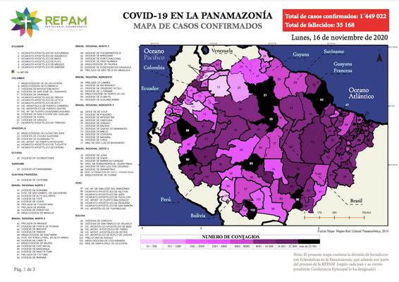 Mapa de casos confirmados en la panamazonía - 16/11/20