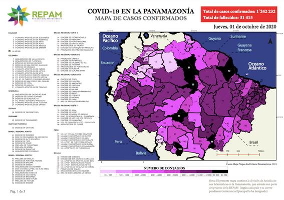 Mapa de casos confirmados en la panamazonía - 01/10/20