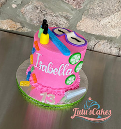 Hot pink spa day cake