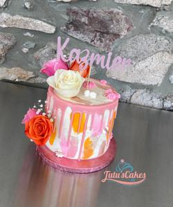 White and pink rose drip cake