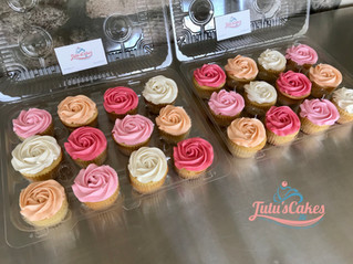 Assorted color rosette cupcakes