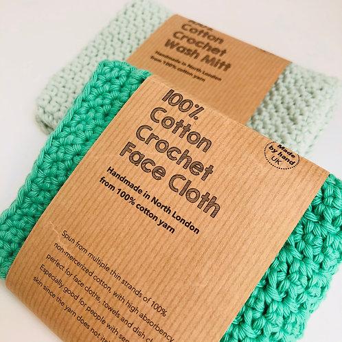 FACE CLOTH & WASH MITT opal green and pale mint hand crochet 100%