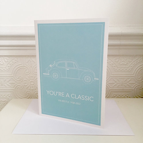VW BEETLE greetings card