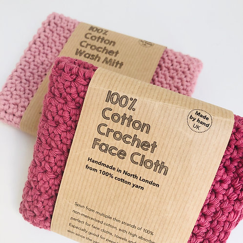 FACE CLOTH & WASH MITT plum and dusky pink hand crochet 100% cotton