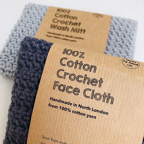 FACE CLOTH & WASH MITT charcoal and grey hand crochet 100%